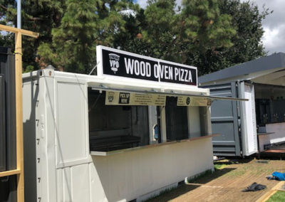20ft container modification for pizza bar serving up a storm at Gluttony Festival at Adelaide Fringe