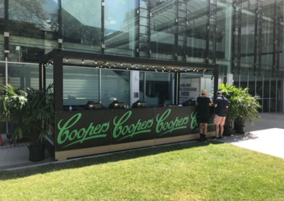 Container conversion to Coopers Bar for Flinders University festival