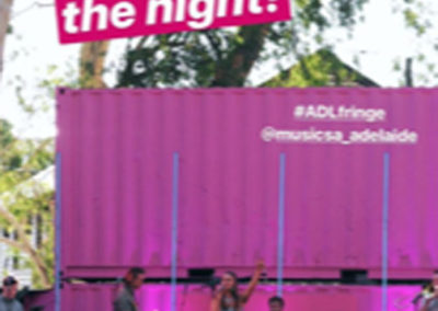 G.A.A.S. containers for a stage at Adelaide fringe doubles as storage