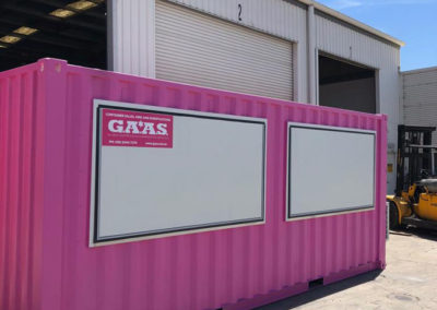 Hire 20ft G.A.A.S shipping container conversion to ticket booth featuring airconditioning, two awnings, secure door, stainless steel bench
