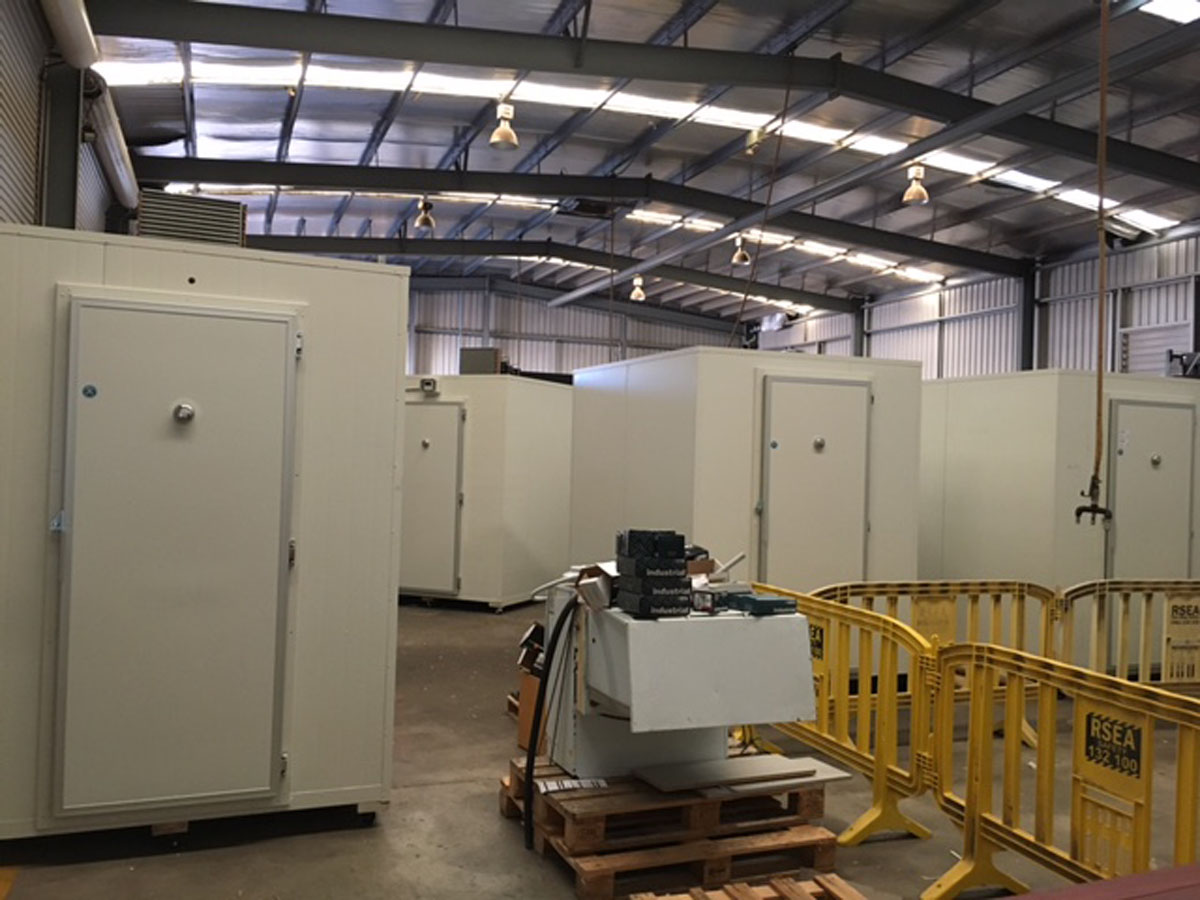 4 new cool rooms being built at G.A.A.S's Adelaide workshop in Winfgield to be sent two a client in Melbourne