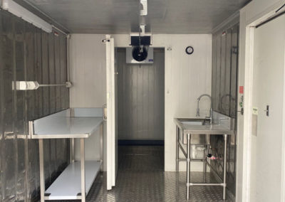 A large Coolroom recently built to specification that includes, storeroom, food preparation benches and sinks and wash up area installed in a takeaway franchise in Adelaide