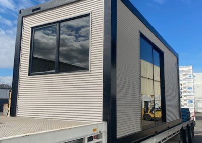 Mini Orb clad EMF resistant shipping container living room
