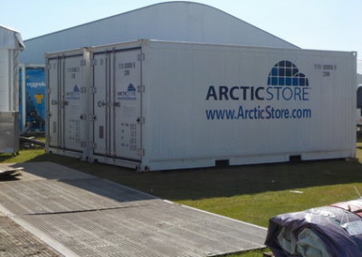 Multiple refrigerated shipping containers for cool storage