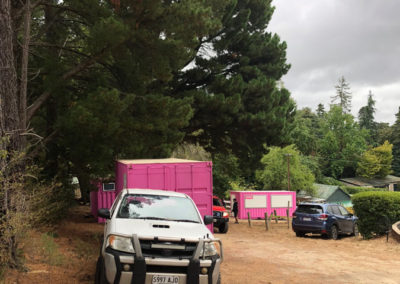 Onsite with Channel 7's filming and the shipping container dressing rooms for hire