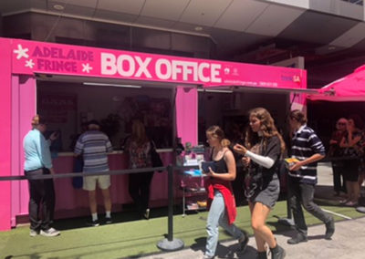 Rundle Mall 20 ft shipping container ticket booth for Adelaide Fringe 2021