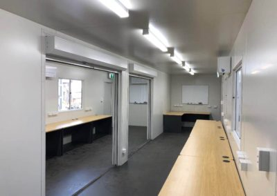 EXACT Contracting conjoined 40ft shipping container rooms to form one office or can be divided into two secure 20ft offices