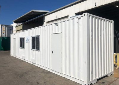 EXACT Contracting external view of shipping container modification with door and window view