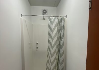 Shower outlet in 40ft ablution container for a Queensland powerunit site