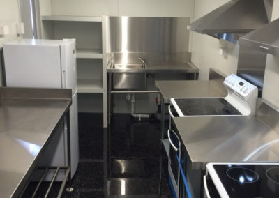 A container conversion with a fully operational kitchen serving the needs of Air B N B guests in the Adelaide Hills site Villa Lunelli