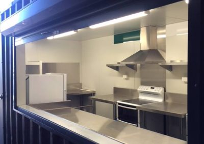 Container conversion to stainless steel kitchen