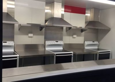 Air BnB 20ft contianer kitchen with three servery and oven stations purpose built to cater for guests