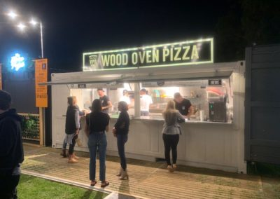 Commercial kitchen built for pizza bar serving at festivals and special events