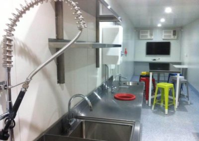 Inside 40 foot kitchen fabricated at G.A.A.S containers workshop and delivered to remote outback area of Innamincka in South Australia