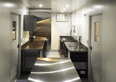 Inside 40ft kitchen designed and fabricated in G.A.A.S Containers workshop in South Australia for delivery to remote regional town of Innamincka.