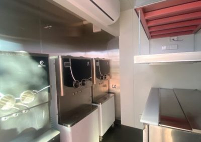Internal view of Shibui dessert bar built with stainless steel fittings, airconditioning and fully functional food preparation area