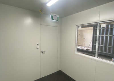 Internal view of shipping container office conversion