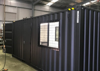 LCS container office in the G.A.A.S workshop finishing with windws, secure doors, lighting and data access points