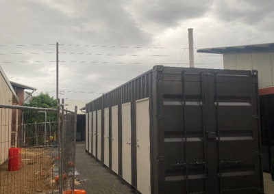 Shipping container toilet block fabricated by G.A.A.S containers delivered to site at a Port Adelaide school