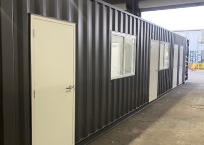 Shipping container conversion to toilet and office block for regional outback Australia