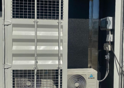 Shipping container external secure air-conditioning